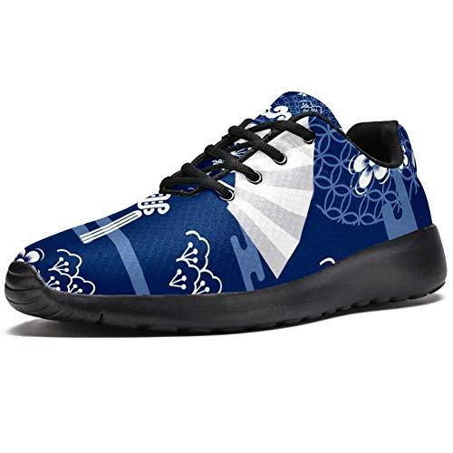 TIZORAX Laufschuhe für Herren, japanische Fans und Blumen, modische Sneaker, Netzstoff, atmungsaktiv, Wandern, Tennisschuh, Mehrfarbig - mehrfarbig - Größe: 41 1/3 EU