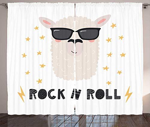 Tr674gs Rock and Roll Cortinas Cool and Funny Llama Retrato con gafas de sol, 2 paneles, 2 paneles, color gris oscuro mostaza cáscara de huevo pálido y rubor