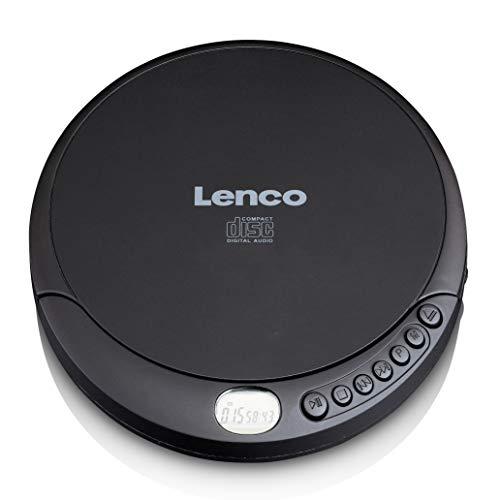 Lenco CD-010 - Tragbarer CD-Player Walkman - Diskman - CD Walkman - Mit Kopfhörern und Micro USB Ladekabel - Schwarz