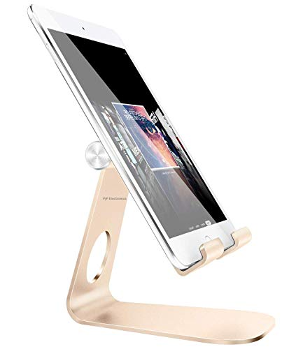 Pjp Electronics Tablet Stand Multi-Angle, iPad Stand, Aluminium Desktop Verstelbare Houder voor iPad mini Air, iPhone, Samsung Galaxy, Samsung Tablet, Nintendo Switch, Andere Tabletten (4-13 inch), Stand Case, For Tablets, Goud