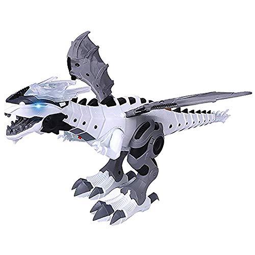 Bestlle Dinosaurier-Spielzeug – Elektronisches Dinosaurier-Spielzeug für Kinder, ferngesteuertes Spielzeug mit Laufen, Simulation brüllend, Sprühen, Schüttelkopf, Flügel, für Jungen und Mädchen weiß