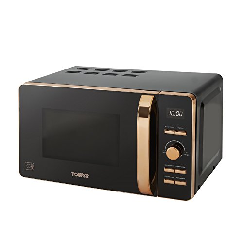 Tower T24021 Digital Solo Microwave with 6 Power Levels, 60 Minute Timer, Defrost Function, 800 W, 20 Litre, Black and Rose Gold