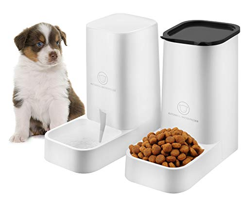 Nuluphu Dog or Cat Automatic Feeder Water Dispenser Set Food Bowl Cat Food Container for Small Medium and Large Cats and Dogs Food and Water Distribution2 PCS
