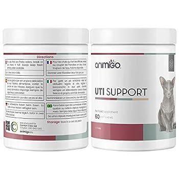 Animigo UTI Support pour Chat - Soin Urinaire Naturel - Ingrédients Naturels: Cranberry, Thé Vert, D-Mannose - Santé des Voies Urinaires - 60 Friandises pour Chats et Chatons