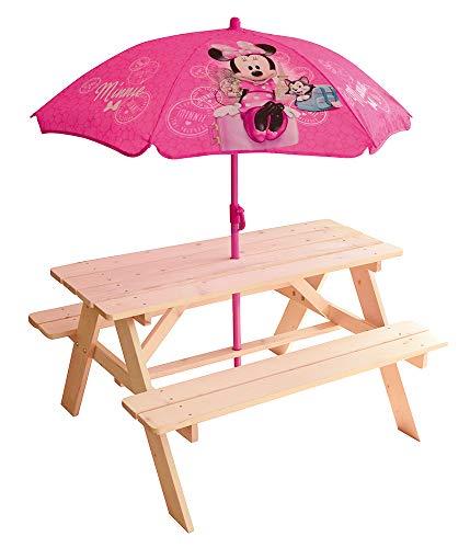 FUN HOUSE 713002-DISNEY MINNIE Table Pique-Nique bois avec parasol pour Enfant