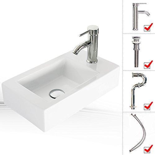 LUCKWIND Bathroom Sink Ceramic Vanity Top - White Porcelain Pedestal Lavatory Vanity Basin Bowl Chrome Brass Faucet P-trap Pop Up Drain Combo Single Hole Side Vanity Top Rectangular (18.5'10.5' Wall