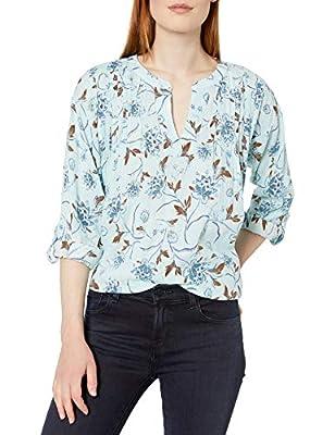 Bandolino Women's Taylor Roll Tab Sleeve Printed Pullover, Airie Blue - Press Perennials, Medium from Bandolino