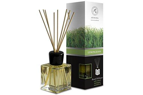 Raumduft Diffuser Lemongrass - Zitronengras 200ml - Glas - mit Naturreines Ätherisches Zitronengrasöl - Intensiv Raumduft - 0% Alkohol - Raumduft-Set Zum Aromatisieren