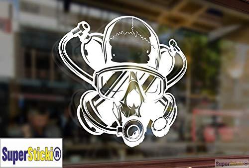 Supersticki Gasmasker, autosticker, grappig, ca. 20 cm, hoogwaardige folie voor alle gladde oppervlakken, UV- en wasstraatbestendig, tuning, professionele kwaliteit
