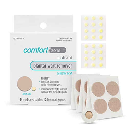 Comfort Zone Plantar Wart Remover Kit, Medicated Patches and Concealing Pads, 24 Count