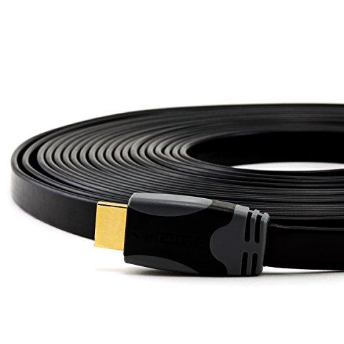 CSL - 10m ultraflaches High-End 1.4a HDMI-Kabel mit Ethernet Netzwerk - Flachbandkabel - Full HD 1080p - 2160p und 3D fähig
