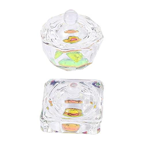 HEALLILY 2 Piezas de Decoración de Uñas de Vidrio Líquido en Polvo Frasco de Cristal Taza de Cristal Herramienta de Manicura con Tapa para Esmalte de Uñas Crema de Brillo de Labios