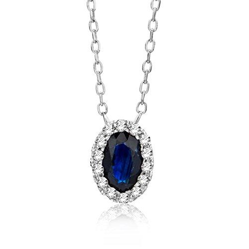 Damen-colgante Miore puiido ({375}) collar de{9} oro blanco con azul brillante de 45 cm azul corte ovalado crotalo - MF9020N