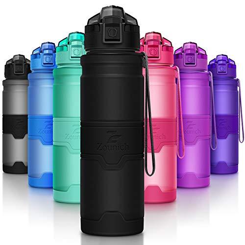 ZOUNICH Trinkflasche Sport BPA frei Kunststoff Sporttrinkflaschen für Kinder Schule, Joggen, Fahrrad, öffnen mit Einer Hand Trinkflaschen Filter, Schwarz, 14oz/400ml