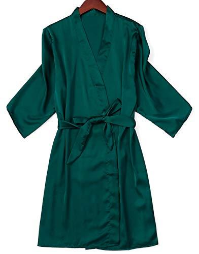Women's Bride Bridesmaid Robes Silky Dusty Blue Kimono Robes Bathrobes Short Sleepwear for Women Emerald Green, Medium