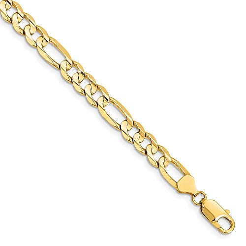 14k Yellow Gold 7.5mm Concave Link Figaro Bracelet Chain 9 Inch Fine Jewellery For Women Mothers Day Gifts For Her