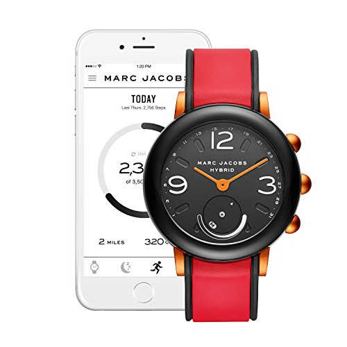 Marc Jacobs Women's Riley Nylon and Silicone Hybrid Smartwatch, Color: Black, Red (Model: MJT1008)