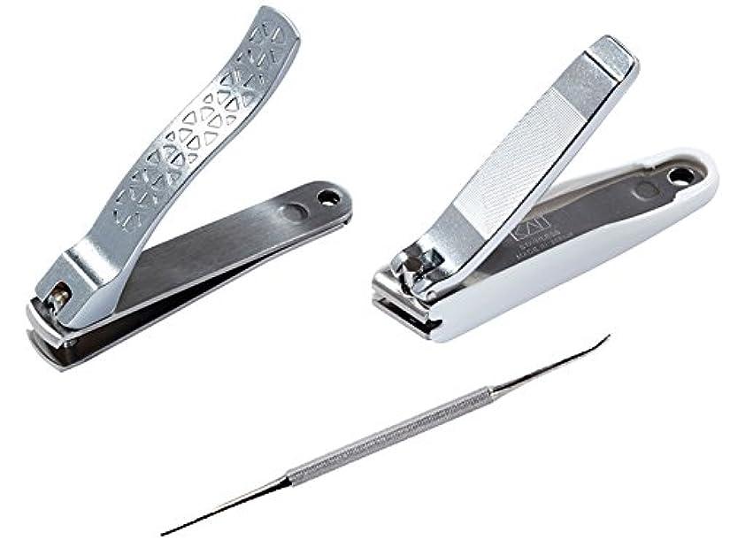 半径ウガンダ和らげる【セット】貝印 巻き爪ケアセット 巻き爪用凸刃ツメキリ KQ-2031 + 直線刃ツメキリ KQ-2034 + 爪やすり KQ-2032
