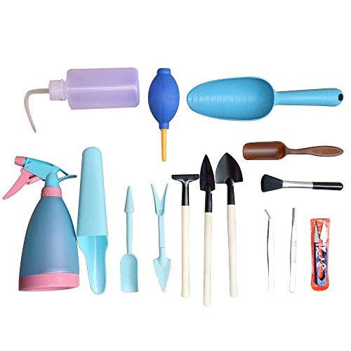 Paracity Mini jardin outils à main 15 pièces Outils de Transplantation Succulente outils miniature plantation Outil de jardinage Ensemble bleu