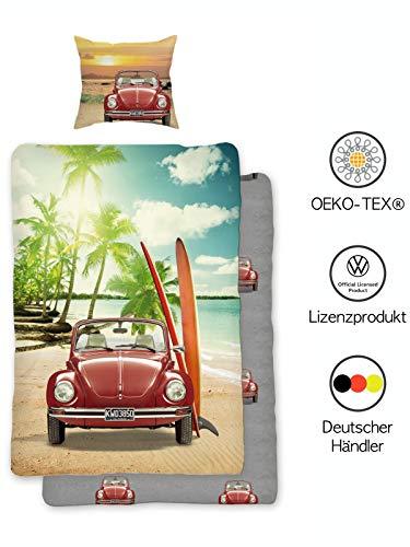 VW Käfer Bettwäsche 135x200 cm Baumwolle | VW Wendebettwäsche-Set mit Reißverschluss | Öko-Tex Standard 100 Deutsche Standardgröße
