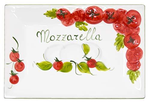 Lashuma Handgemachte Rechteckige Servierplatte im Tomate Mozzarella Design aus Italienischer Keramik, Servierteller 31 x 21 cm, 3 cm tief