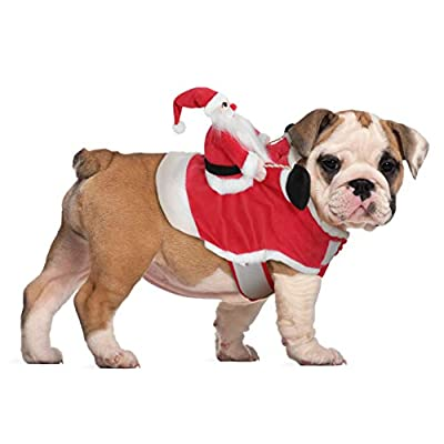 POPETPOP Dog Santa Claus Riding Christmas Costume - Premium Pet Clothes Christmas Riding Outfit for Small Large Dogs Cats, Apparel Christmas Party Dressing Up Clothing
