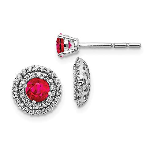 14k White Gold Diamond Red Ruby Stud Jacket Earrings Ball Button Birthstone July Fine Jewellery For Women Mothers Day Gifts For Her