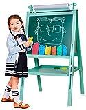 3 in 1 Wooden Kids Easel Double-Sided Magnetic Drawing Board Whiteboard & Chalkboard