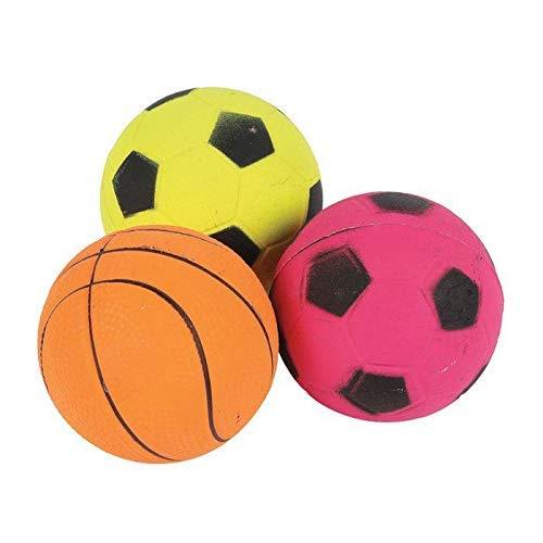 3 Premium Calidad Goma Amarillo Naranja Rosa Neón Deporte Bola de Juguete Perro Jugar Exterior