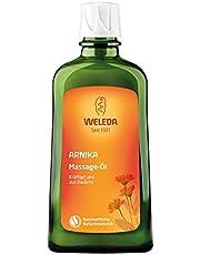 Weleda arnica massageolja, närande naturlig kosmetisk kroppsolja mot spänningar och kramper i musklern, 200 ml