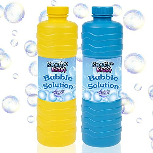 KreativeKraft Ricarica Bolle di Sapone Bambini, Bottiglia Refill 1 Litro di Liquido per Fare Bubbles Universale per Macchina Bolle Giganti E Festa, Giochi da Giardino per Bambini, Confezione da 2