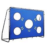 LAKARU(ラカル)サッカーゴール 235x175x85cm サッカーボール ゴール フットサル 練習 キック トレーニング サッカートレーナー キックターゲット付き スチール 組み立て式 子供大人用 室内屋外兼用 ポータブル