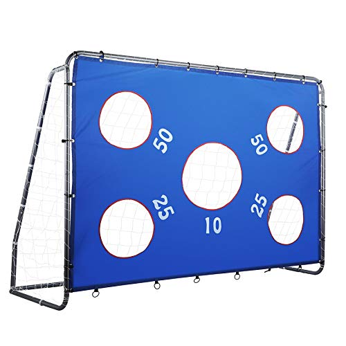 Pinty 2 in 1 Soccer Goal for Kids 8 x 6 ft, Powder Coated Steel Soccer Goals for Backyard with All Weather Net & Detachable Target Goal Net for improving Skills