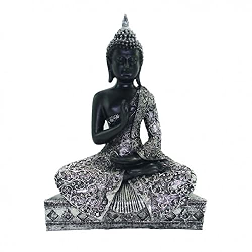 Acan Figura de Buda realizada en Resina, de Color Negro con Acabados en Plateado, de 19 x 8 x 25 cm, Pequeña Estatua de Buda para decoración de hogar u Oficina. Figurita Zen para Exterior o Interior.