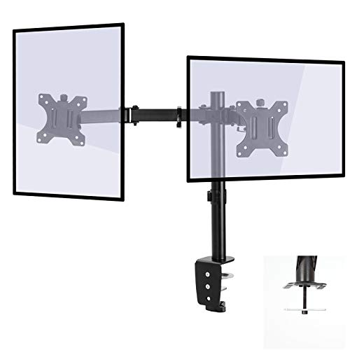 """Aludest Dual LCD Monitor Desk Mount Stand Heavy Duty Fully Adjustable fits2/Two Screens up to 32""""."""