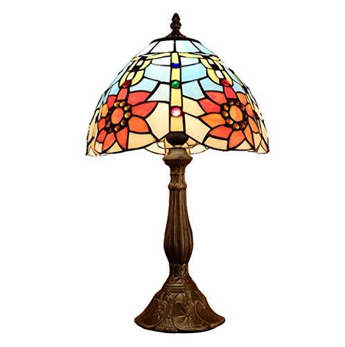 Tafellamp Sun Flower Stained Glass nachtlampje Tiffany-stijl 12 inch voor woonkamer slaapkamer antiek dressoir verlichting salontafel 110 – 240 V E27 (30 × 48 cm)