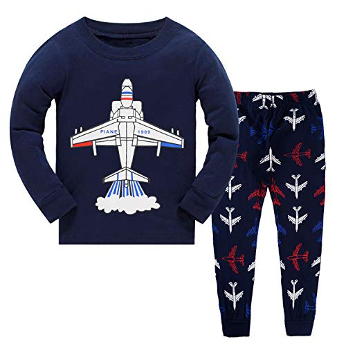 Jet Fighters Pajamas for Boys Baby Long Sleeve Pjs Sets 100% Cotton Sleepwear Snug Fit Toddler Outfit 7T Blue