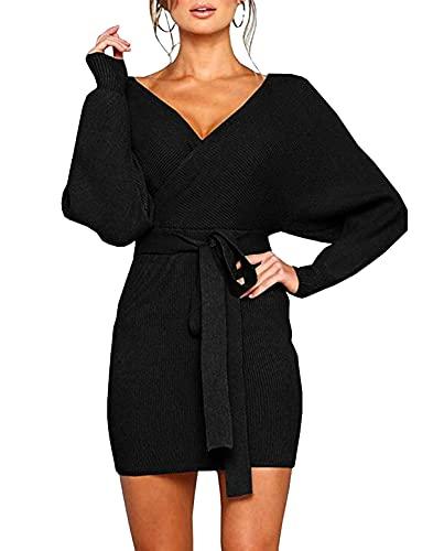 Mansy Women's Sexy Cocktail Batwing Long Sleeve Backless Mock Wrap Knit Sweater Mini Dress (XL, Black)