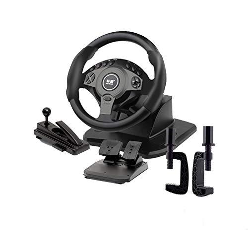 MXMYFZ Auto-Gaming-Rad, Lenkrad mit Pedalen, 900 ° Rotation USB PC Vibrations-Lenkrad, kompatibel mit Windows-PC,Schwarz