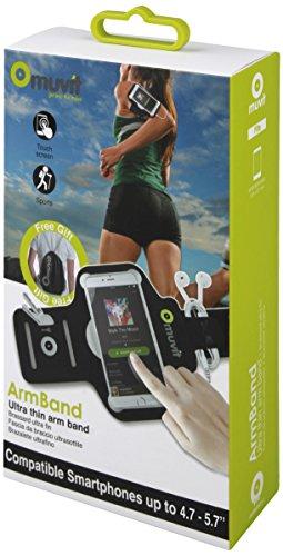 Muvit MUARM0029 - Brazalete Fino Universal para Smartphone (4.7-5.7', Incluye Bolsa de Deporte), Color Negro