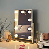 FENCHILIN Hollywood Mirror with Light Large Lighted Makeup Mirror Vanity Makeup Mirror Smart Touch Control 3Colors Dimable Light Detachable 10X Magnification 360°Rotation(White)