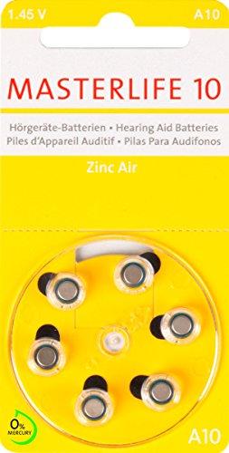 MASTERLIFE HÖRGERÄTE BATTERIEN Typ 10 PR70 gelb A10 Batterie (120)