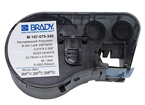 """Brady PermaSleeve Heat-Shrink Polyolefin Wire Marking Sleeves (M-187-075-342) - Black On White Sleeves - Compatible with BMP41, BMP51, and BMP53 Label Makers - .335"""" Height, .75"""" Width"""
