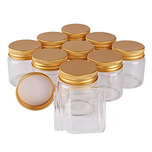 miaoyu 12 recipientes de almacenamiento de especias de 50 ml, 47 x 50 x 34 mm, botellas de vidrio con tapas de aluminio dorado para especias y pastillas, tarros de dulces para bodas