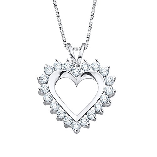 14K oro blanco 1/2CT. Diamante Corazón Colgante con cadena