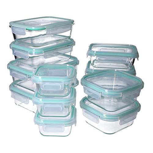 GEORGES 24tlg. Frischhaltedosen- Set, mehrteilig aus Glas mit Klickdeckel - Spülmaschinengeeignet - Mikrowellen- und Backofen geeignet (ohne Deckel) - BPA-frei | Modell 2020
