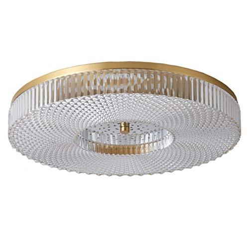 WENY Moderno Luz De Techo De Cobre LED Luz De Techo Empotrada Dormitorio Lámpara De Techo Regulable Redondo Acrílico Luz para Sala De Estar,49cm 45W