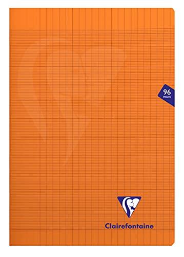 Clairefontaine 383161C Un Cahier Agrafé Mimesys Orange - A4 21x29,7 cm 96 Pages Grands Carreaux Papier Clairefontaine Blanc 90 g - Couverture Polypro