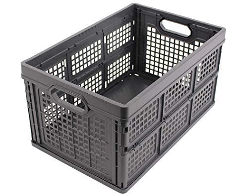 CAJA PLEGABLE 40L, Made in Germany, 53x35x28 cm, caja de transporte de plástico, caja de compra, caja de transporte, máx. 175kg, gris