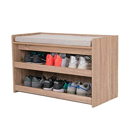 Happy Home Schuhbank mit Sitzfläche 2 Etagen Schuhregal für 4-6 Paar Schuhe, Schuhablage...